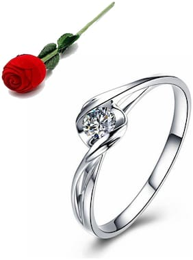 Stylish Teens Glamorous Solitaire Adjustable Ring For Women & Girls With Rose Box Packing