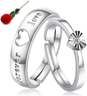 STYLISH TEENS Love Forever Sterling Silver Swarovski Elements Adjustable Couple Rings