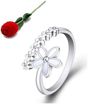Stylish Teens Stylish Flower Design Adorable Adjustable Silver Rings For Women & Girls With Rose Box Packing