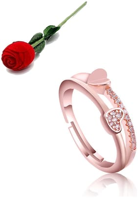 Stylish Teens Gorgeous Swarovski Crystal Heart Shape Rose Gold Adjustable Rings For Women With Rose Box Packing