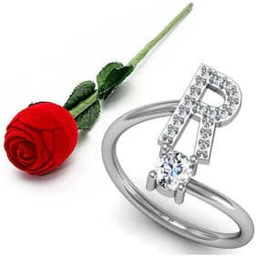 Stylish Teens Glamorous 'R' Letter Sterling Silver Zircon Rings For Women & Girls With Rose Box Packing