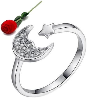 Stylish Teens Sparkling Swarovski Star Moon Adjustable Ring With Ring Box With Rose Box Packing