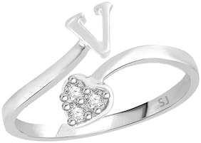 Sukai Jewels Heart Initial 'V' Rhodium Plated Alloy & Brass Alphabet Ring For Women and Girls
