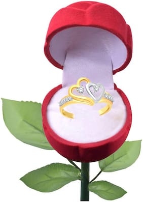 Sukai Jewels Bonded Heart Gold Plated Alloy Cubic Zirconia Studded Finger Ring with Rose for Women & Girls [SFR266G]