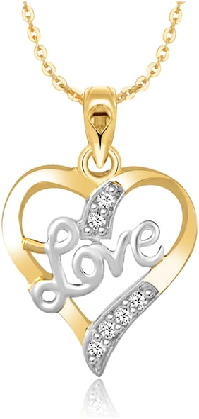 Sukai Jewels Love Heart Gold Plated Alloy & Brass Cubic Zirconia Pendant with Chain for Women & Girls