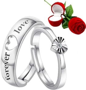 Sukai Jewels Forever Love With Rose Adjustable Couple Ring For Women And Men