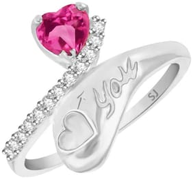 Sukai Jewels LOVE YOU Heart Rhodium Plated Alloy & Brass Cubic Zirconia Studded Finger Ring for Women & Girls [SFR221R]