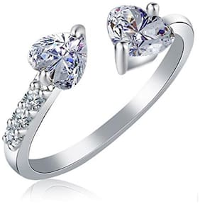 Sukai Jewels Double Solitaire Rhodium Plated Alloy & Brass Cubic Zirconia Finger Ring for Women & Girls [SFR730R]