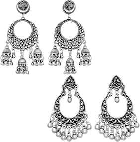 Sukai Jewels Charming Oxidised Combo Earring For Women