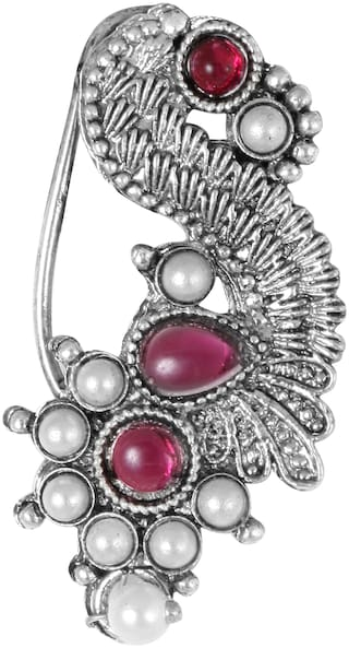 Sukai Jewels Traditional Oxidised Maharashtrian Nath with Floarl Design Non Pierced Nose Ring for Women and Girls