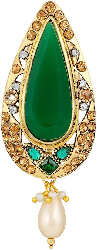 Sukai Jewels Elongated Green Stone Gold Plated Brooch For Women and Girls