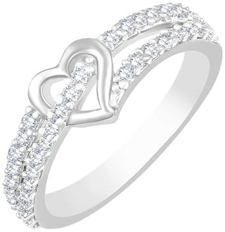 Sukai Jewels Solitaire Heart Rhodium Plated Alloy & Brass Cubic Zirconia Finger Ring for Women & Girls