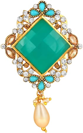 Sukai Jewels Drop Pearl Green Stone Gold Plated Brooch For Women and Girls