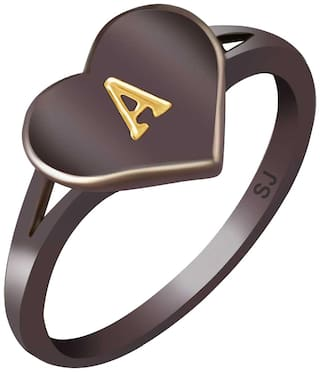Sukai Jewels Stylish Heart Initial 'A'Black Gold Plated Alphabet Ring For Women and Girls