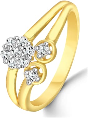 Sukai Jewels Floral Diamond Studded Gold PlatedRing For Women and Girls