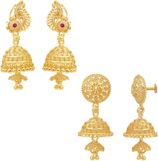 Sukai Jewels South Traditional Design Combo Jhumki Earring for Women and Girls