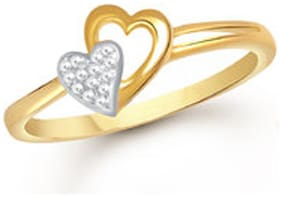 SUKAI JEWELS Bonded Couple Heart Gold Plated Alloy & Brass Cubic Zirconai Finger Ring For Women