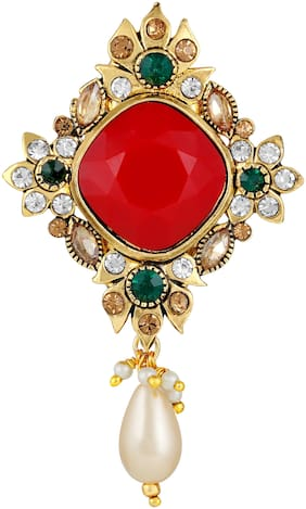 Sukai Jewels Floral Red Stone Gold Plated Brooch For Women and Girls