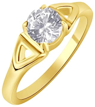 Sukai Jewels Center Single Solitaire Gold Plated Brass Cubic Zirconia Finger Ring for Women