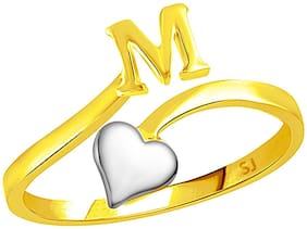 Sukai Jewels Heart Initial 'M' Gold Plated Alphabet Ring For Women and Girls