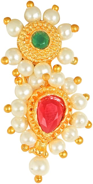Sukai Jewels Traditional Maharashtrian Gold Plated Non Pierced Nath for Women and Girls