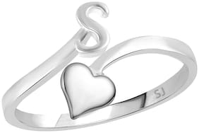 Sukai Jewels Heart Initial 'S' Rhodium Plated Alphabet Ring For Women and Girls