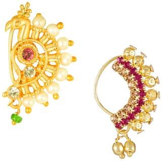 Sukai Jewels Maharashtrain Traditional wear Design Non Pierced Nath Combos for Women and Girls