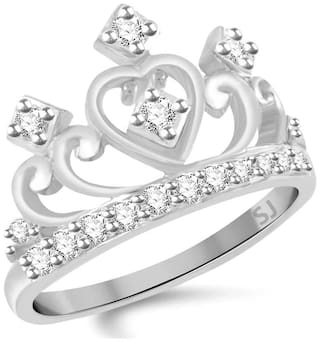 Sukai Jewels Crown Rhodium Plated Alloy & Brass Cubic Zirconia Finger Ring for Women & Girls