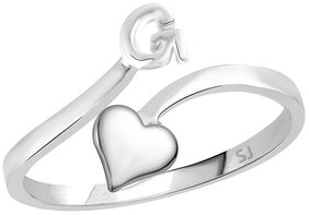Sukai Jewels Heart Initial 'G' Rhodium Plated Alloy & Brass Alphabet Finger Ring for Women and Girls [SAFR116R]