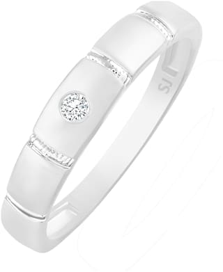 Sukai Jewels Center Single Solitaire Rhodium Plated Ring For Women and Girls