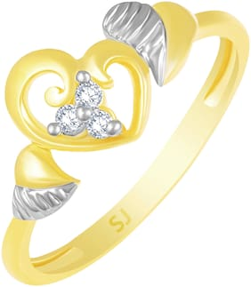 Sukai Jewels Bonded Heart Gold Plated  Brass Cubic Zirconia Finger Ring for Women & Girls