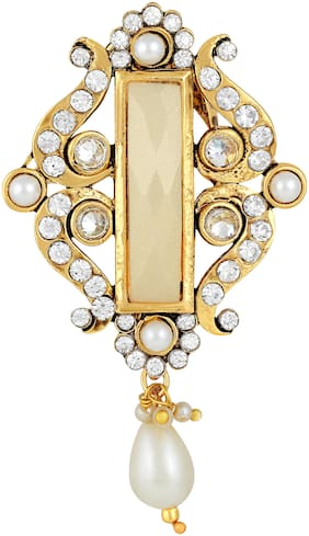 Sukai Jewels Diamond Studded Cream Stone Gold Plated Brooch For Women and Girls