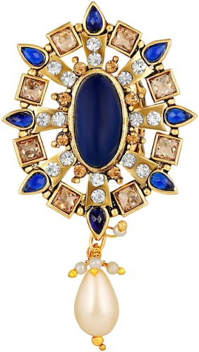 Sukai Jewels Chandelier Blue Stone Gold Plated Alloyand Brass Brooch for Women & Girls [SBR142G]