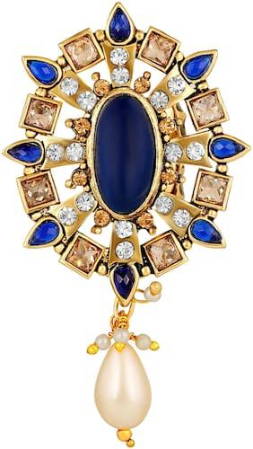 Sukai Jewels Chandelier Blue Stone Gold Plated Alloyand Brass Brooch for Women & Girls [SBR142G]