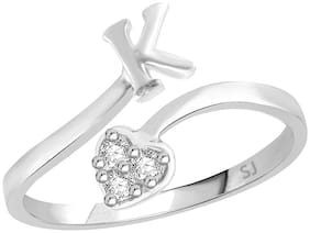 Sukai Jewels Heart Initial 'K' Rhodium Plated Alphabet Ring For Women and Girls