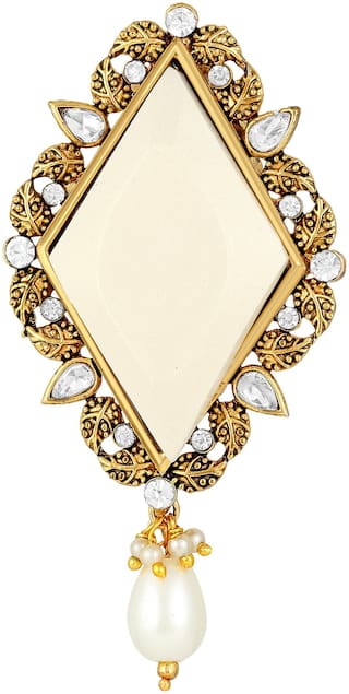 Sukai Jewels White Stone Attractive Gold Plated Brooch For Women and Girls