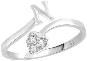 Sukai Jewels Heart Initial 'N' Rhodium Plated Alphabet Ring For Women and Girls