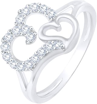 Sukai Jewels Couple Heart Rhodium Plated Alloy & Brass Cubic Zirconia Finger Ring for Women & Girls