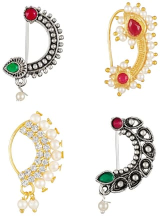 Sukai Jewels Maharastrian Traditional Wear and Oxidised Design Combo Non-Pierced Nath for Women and Girls