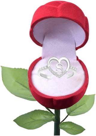 Sukai Jewels Special 'S' Heart Rhodium Plated Alloy Cubic Zirconia Studded Finger Ring with Rose for Women & Girls