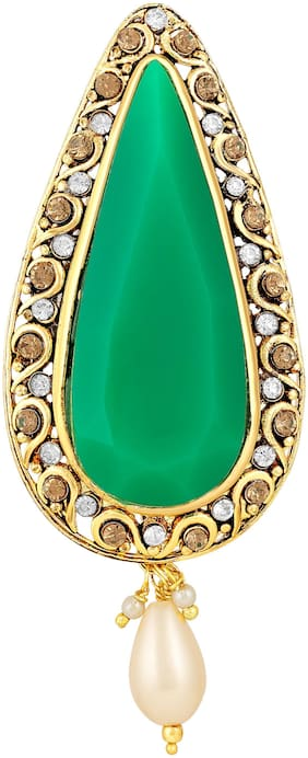 Sukai Jewels Elgonted Green Stone Gold Plated Brooch For Women and Girls