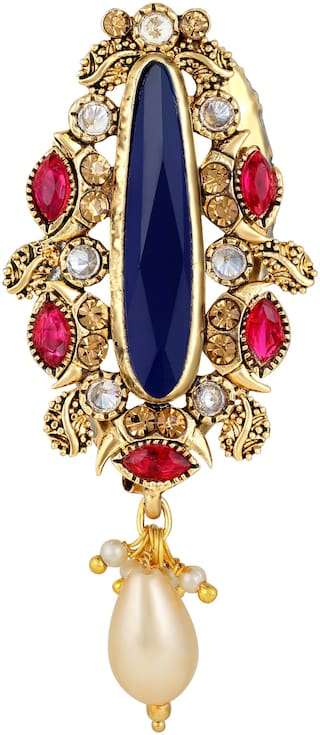 Sukai Jewels Attractive Blue Stone Gold Plated Brooch For Women and Girls