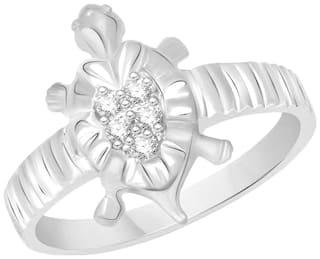 Sukai Jewels Lucky Tortoise Rhodium Plated Alloy & Brass Cubic Zirconia Finger Ring for Women & Girls
