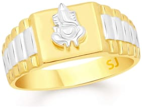 Sukai Jewels Ganesh Gold Plated  Brass Cubic Zirconia Finger Ring for Men