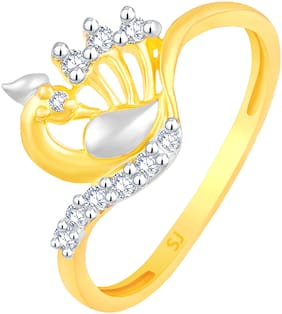 Sukai Jewels Mayur Inspired Gold Plated  Brass Cubic Zirconia Finger Ring for Women & Girls