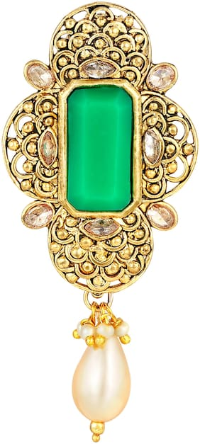 Sukai Jewels Boho Green Stone Gold Plated Brooch For Women and Girls