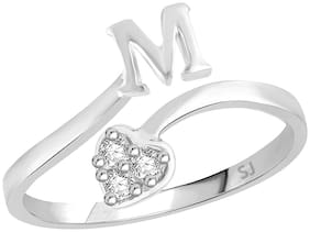 Sukai Jewels Heart Initial 'M' Rhodium Plated Alloy & Brass Alphabet Ring For Women and Girls