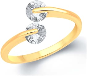 Sukai Jewels Double Solitaire Gold Plated Alloy & Brass Cubic Zirconia Ajustable Ring For Women & Girls