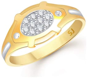 Sukai Jewels Circular Stylish Gold Plated  Brass Cubic Zirconia Finger Ring for Men