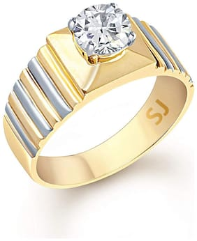 SUKAI JEWELS Single Solitaire Gold Plated  Brass Cubic Zirconia Finger Ring for Men [SFR324G]